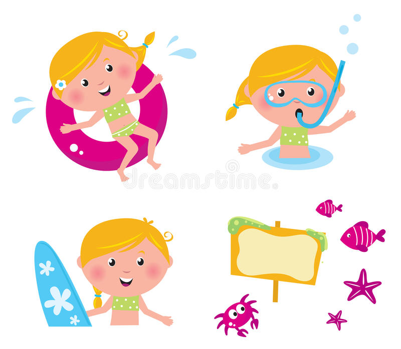Vector collection summer icons, swimming kids