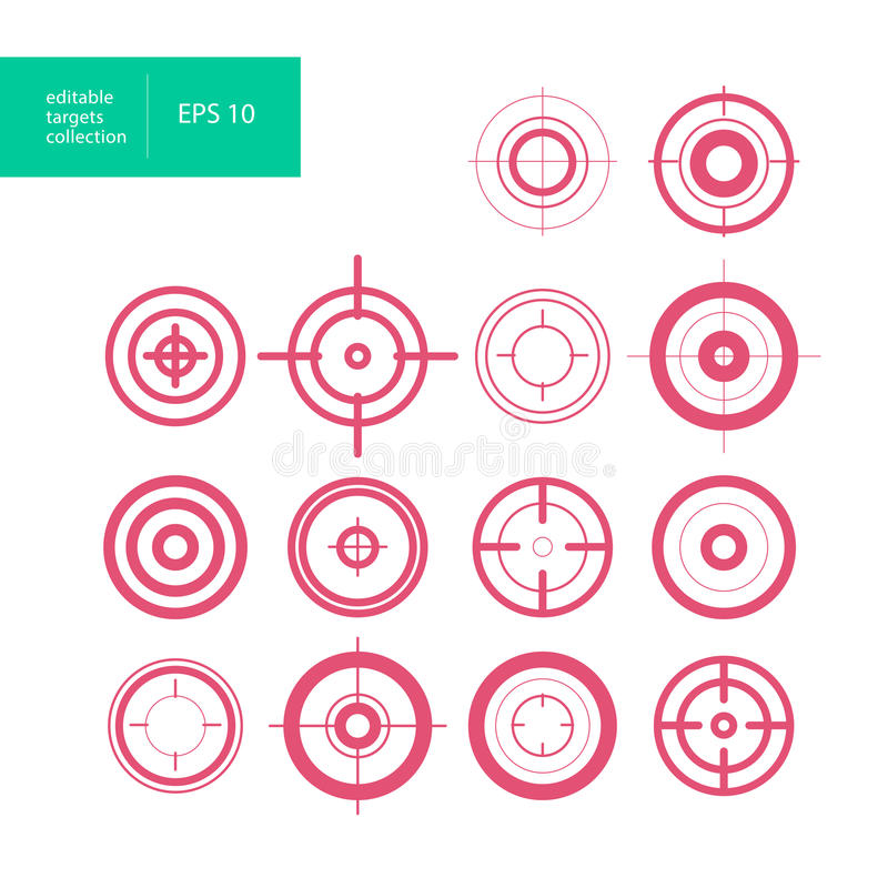 Vector collection of target flat icons. Crosshairs group. Aims isolated vector illustration