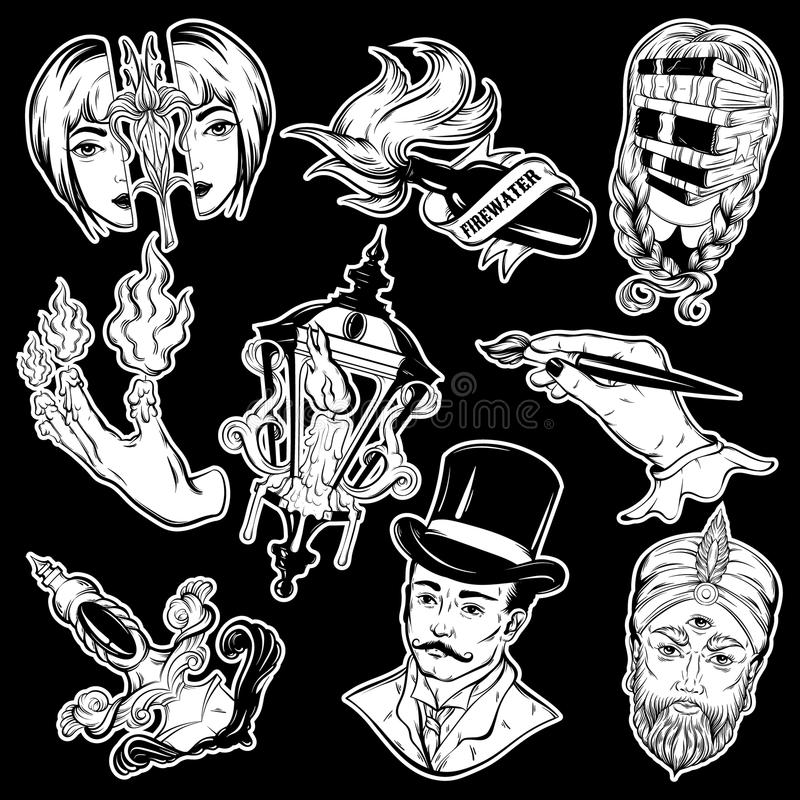 Vector collection of tattoos made in hand drawn vintage style. stock illustration