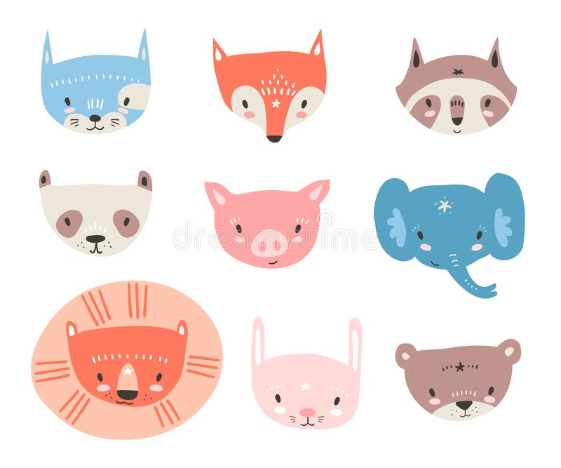 Vector collection with tiny animal faces. Emoji. Cat, fox, racco vector illustration