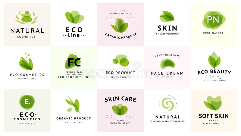 Vector collection of transparent beauty, eco cosmetics and healthy treatment symbols in green colors isolated on white background. Perfect for cosmetic, skin stock illustration