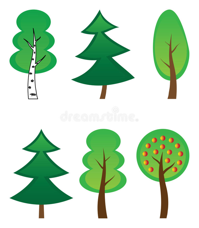 Vector collection of trees stock image
