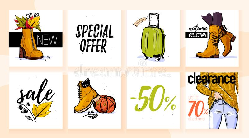 Vector collection of trendy autumn sale with female wardrobe clothing & accessory elements: sweater, boot, bag, jeans isolated on stock illustration