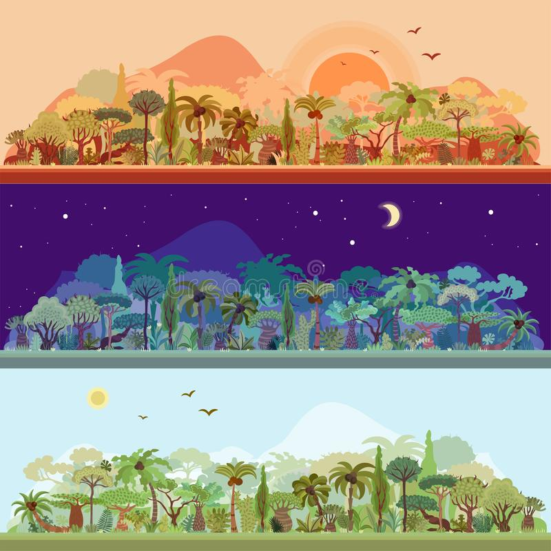 Vector collection of tropical rainforest landscapes with palms and other tropical trees in different colors - nignt. Rainforest landscape, sundown forest royalty free illustration