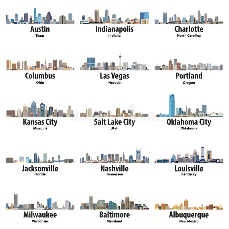 Vector collection of United States cities skylines icons. Vector collection of United States cities skylines stock illustration