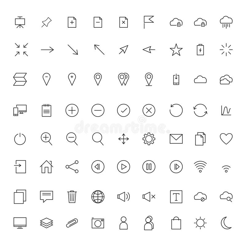 Vector collection of universal black flat icons for web, technology, communication, connectivity, music, media, finance, stock illustration