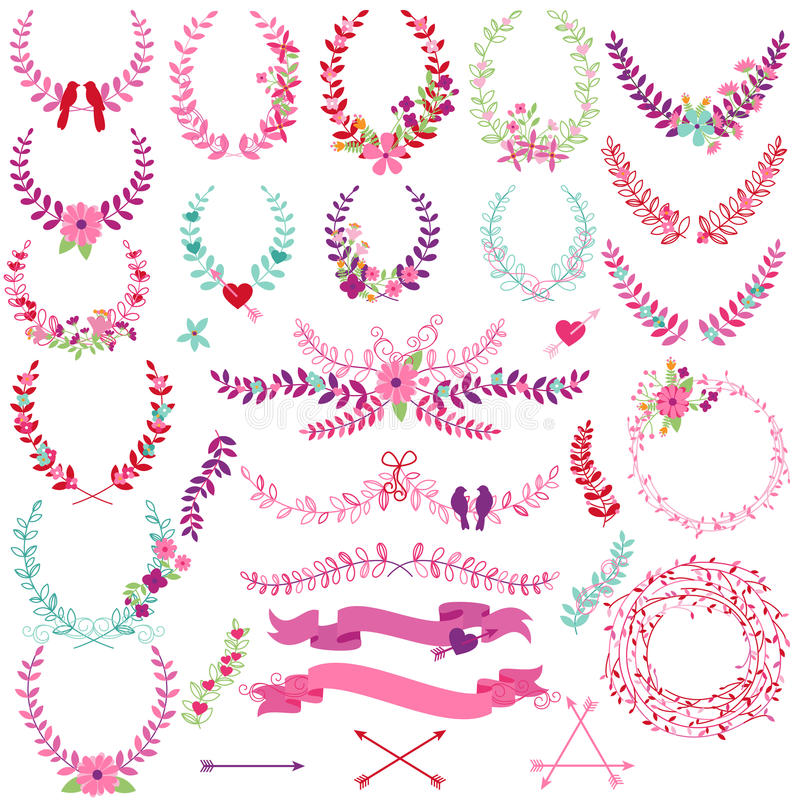 Vector Collection of Valentine's Day or Wedding Themed Laurels. And Wreaths vector illustration