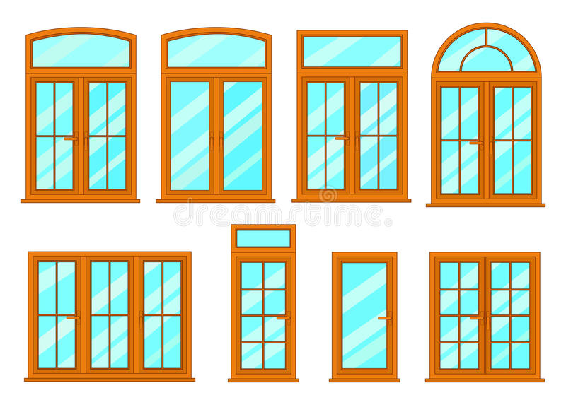 Vector collection of various windows types. vector illustration