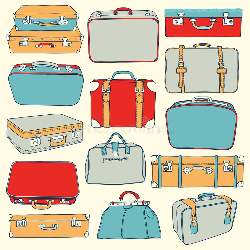 Vector Collection of vintage suitcases. Travel Illustration royalty free illustration