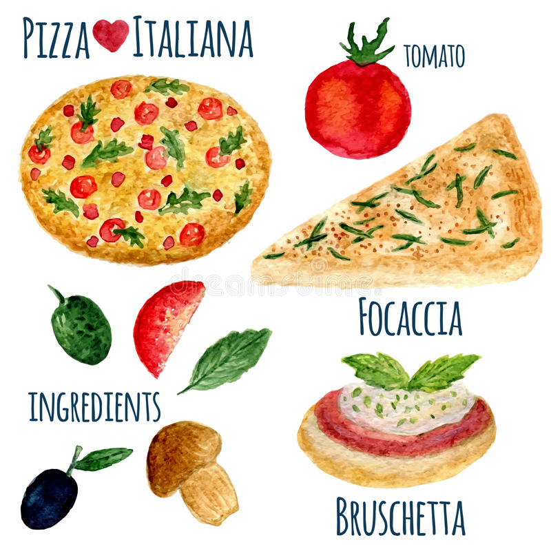Vector collection of watercolor pizza illustration isolated. Italiana menu set vector illustration