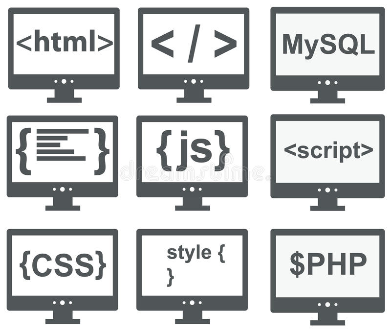 vector collection of web development icons: html, css, tag, mysql, curves, php, script, style, javascript - isolated on white stock illustration