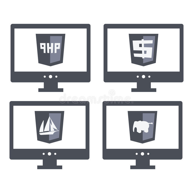 Vector collection of web development shield signs royalty free illustration