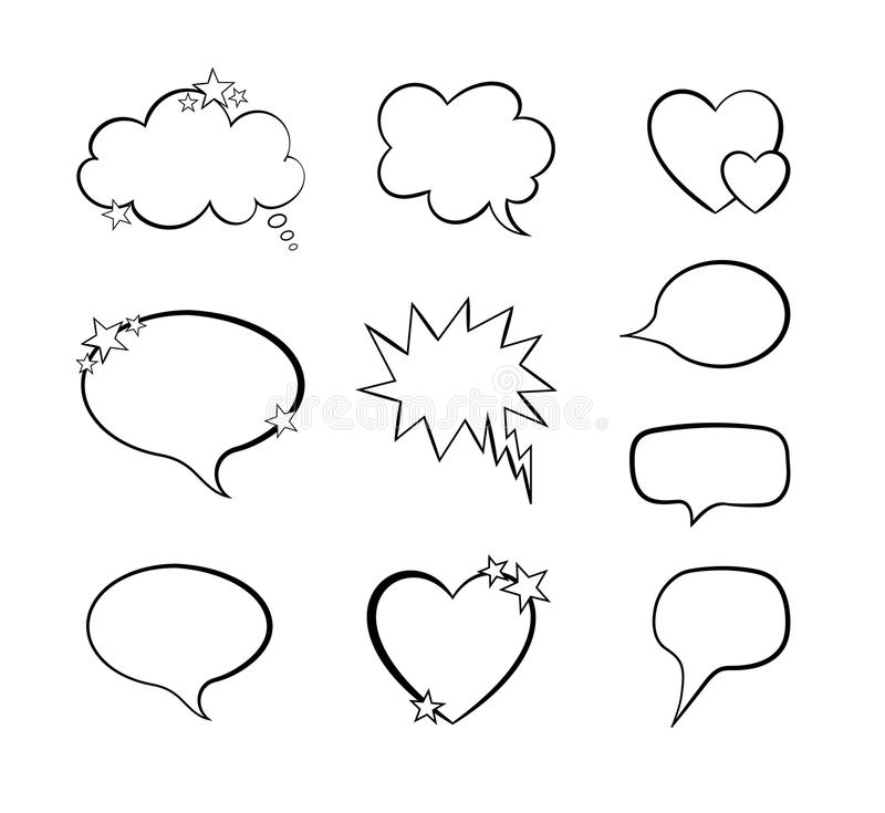 Vector Collection Of Word Bubble Comic Design Elements, Blank Frames ...