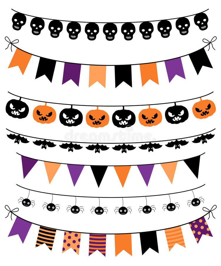 Free Vector Colletion Of Halloween Banners, Buntings And Garlands Royalty Free Stock Photography - 77212027