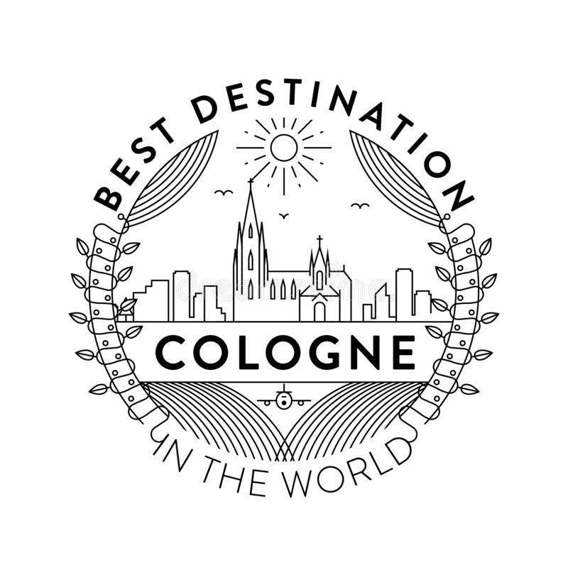 Vector Cologne City Badge, Linear Style stock illustration