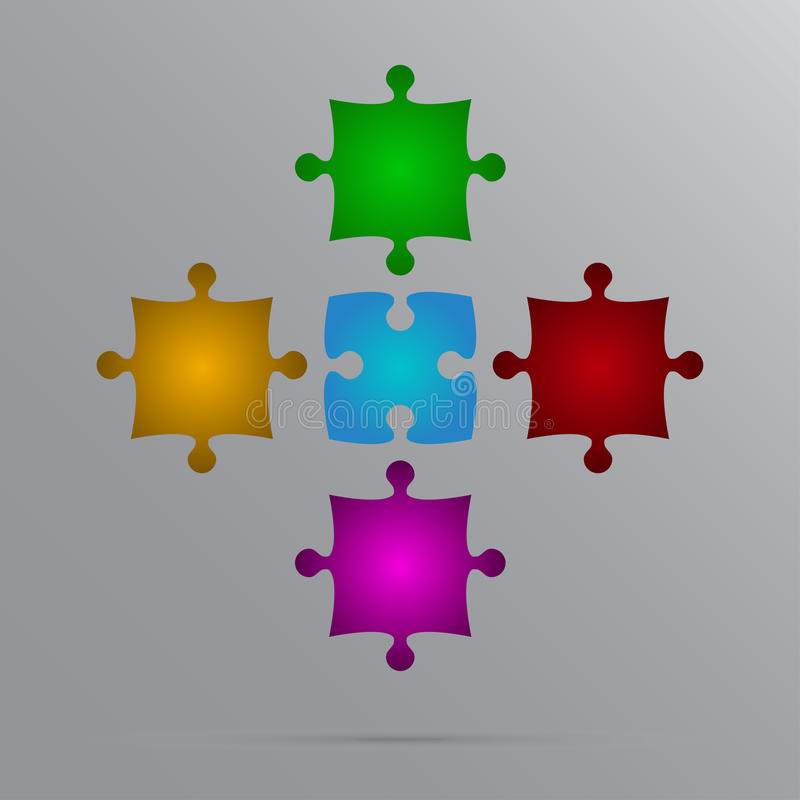 Free Vector Color 5 Puzzles Pieces JigSaw. Royalty Free Stock Photos - 80595768