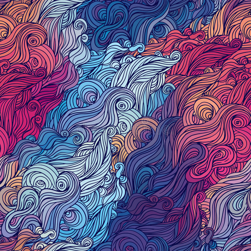 Vector color abstract hand-drawn hair pattern with waves and clouds. vector illustration
