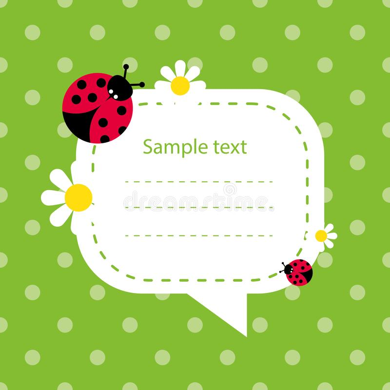 Color baby card with daisies and ladybug vector illustration