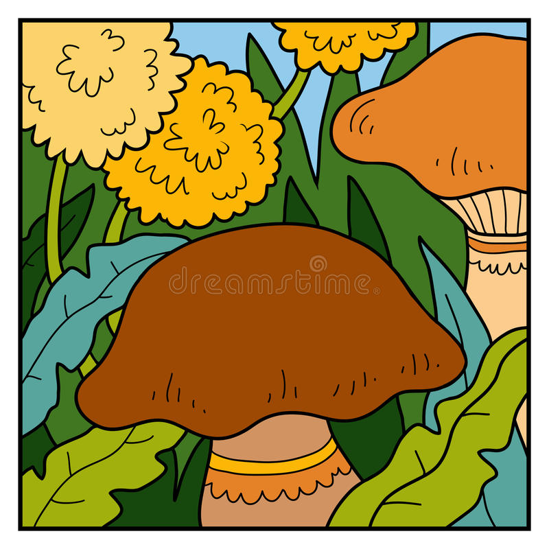 Vector color background, meadow with mushrooms vector illustration