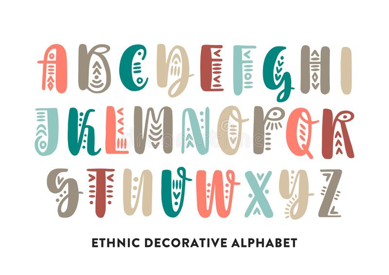 Vector color brush pen handwritten uppercase alphabet decorated with ethnic ornaments royalty free illustration
