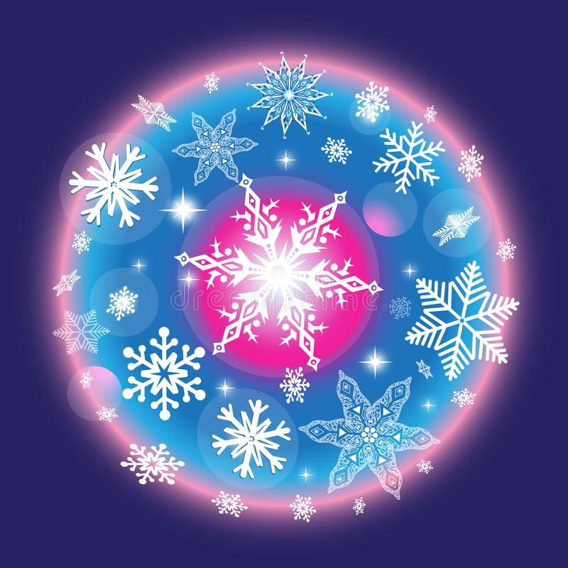 Vector color Christmas winter pattern with snowflakes royalty free illustration