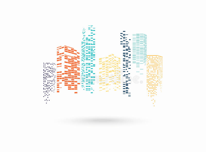 Vector color city silhouette. On the white background stock illustration