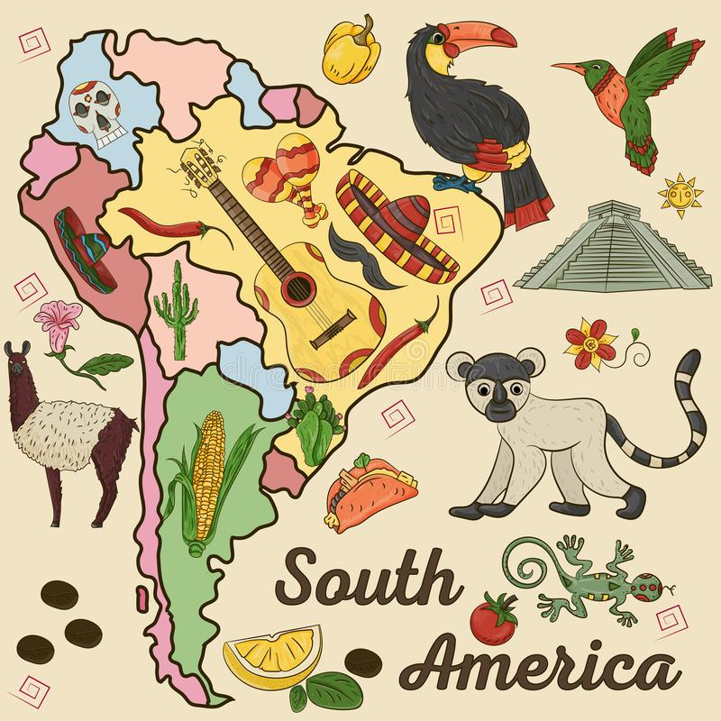 Color_1_drawing on the theme of South America, the continent depicts plants, animals living in South America. Vector color drawing on South America theme royalty free illustration