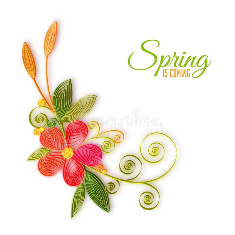 Vector color flower branch in quilling technique stock illustration