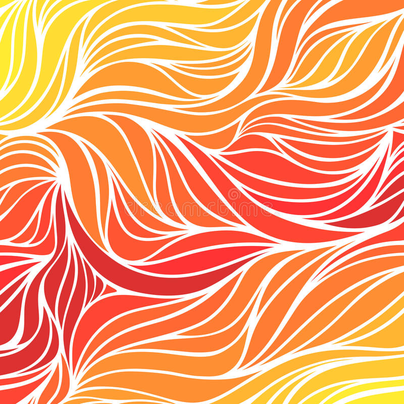 Vector color hand-drawing wave sunny background. Gradient abstract fire texture. Vector colorful hand-drawing wave sunny background. Gradient abstract fire royalty free illustration