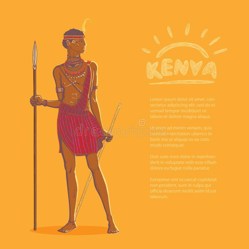 Vector color illustration. Armed african warrior of the Masai tribe in traditional clothes and jewelry on a bright background and vector illustration