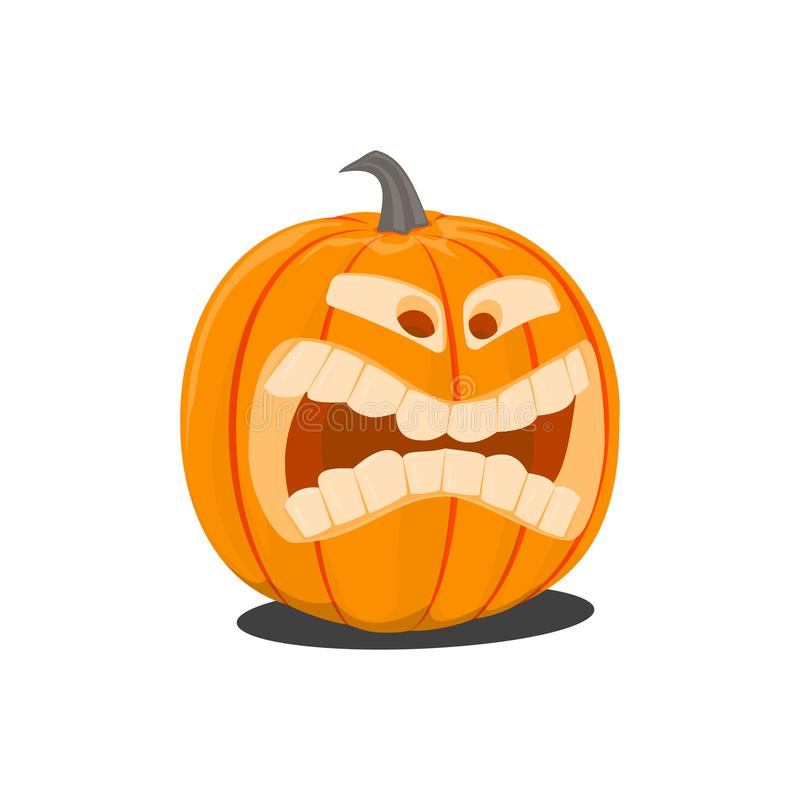 Vector color illustration of cartoon Halloween pumpkin with face on white background. Object image to create original stock illustration