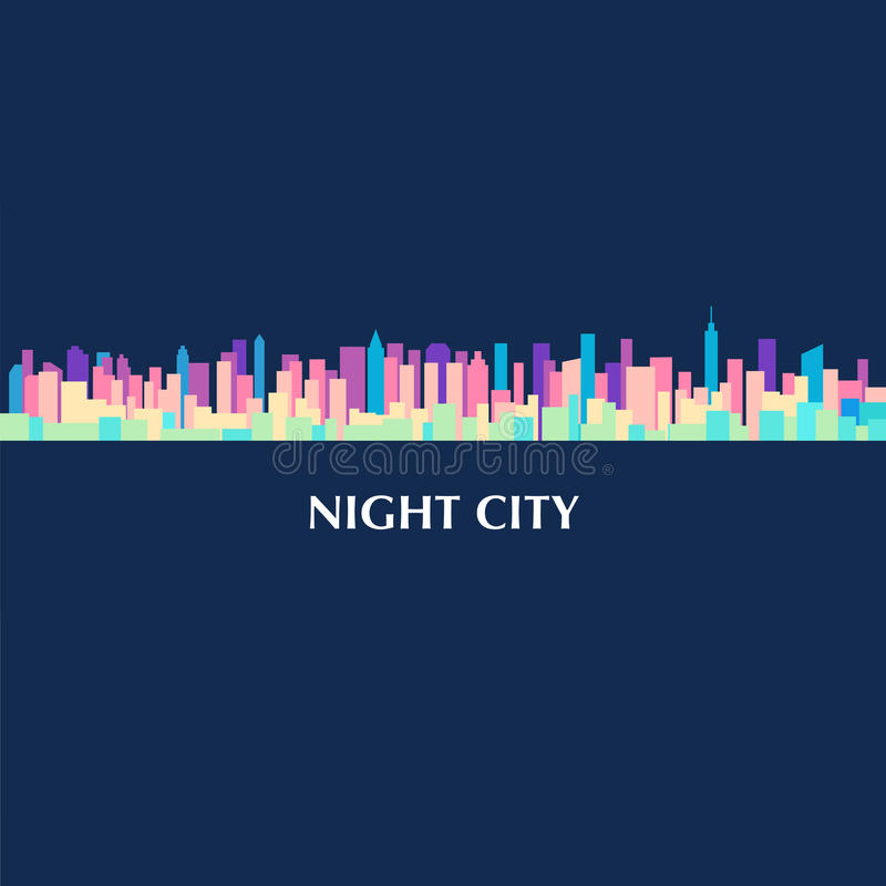 Vector color illustration of city skyline panorama at night stock illustration