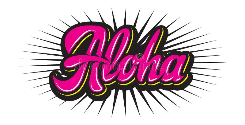 Vector color illustration with stylish inscription Aloha vector illustration