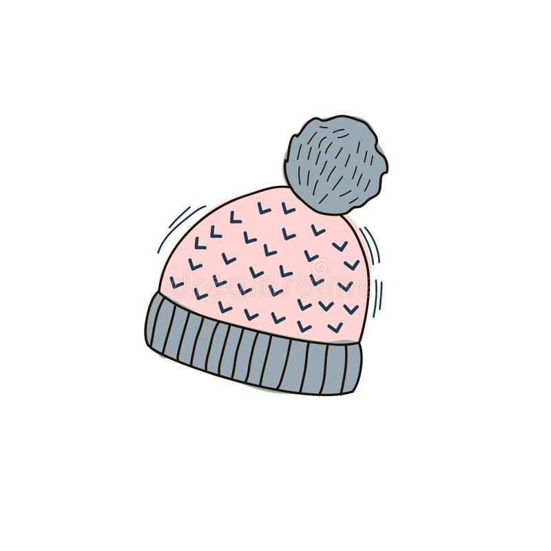 Vector color illustration of warm autumn cap in the style of doodle. Linear illustrations by hand. Knitted hat royalty free illustration