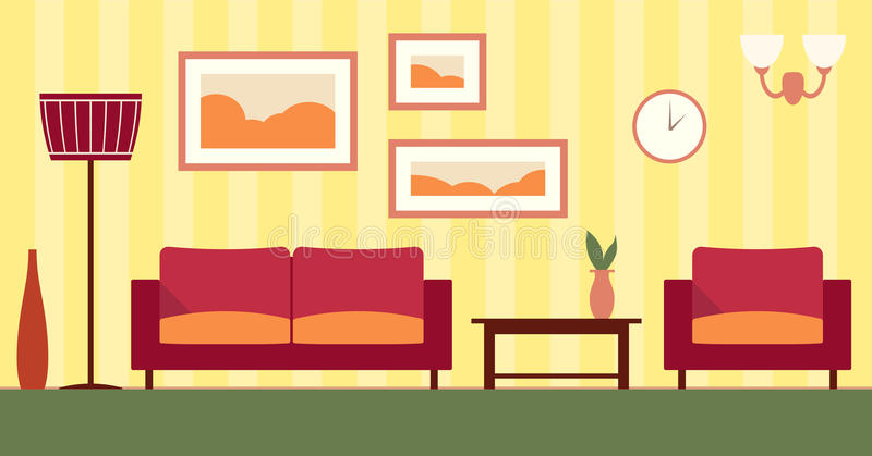 Vector color interior of cartoon living room. vector illustration