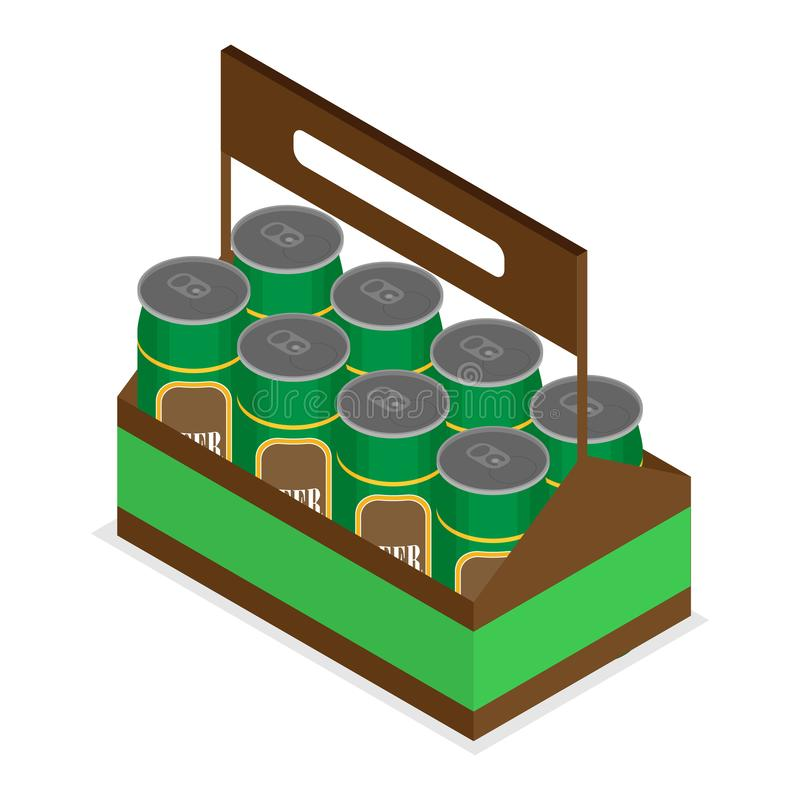 Vector color isometric icon with case of beer stock illustration