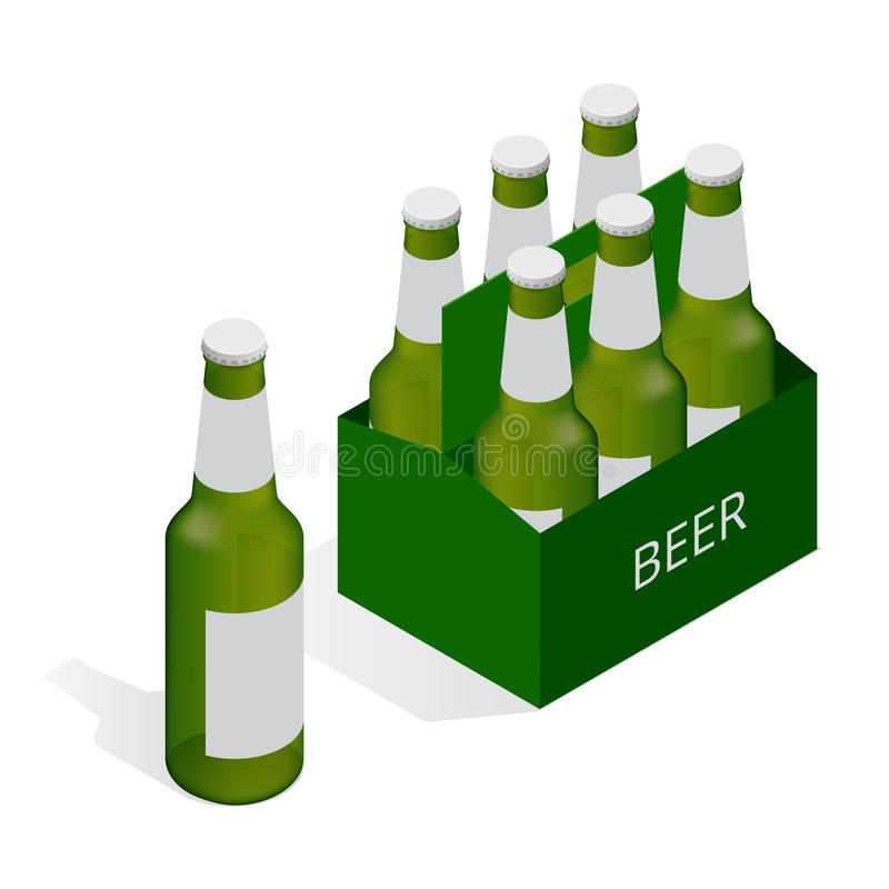 Vector color isometric icon with case of beer with six beer bottles. Flat 3d vector isometric illustration. stock illustration