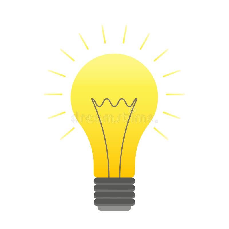 Vector color lightbulb icon, bright cartoon bulb vector illustration