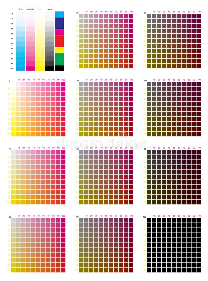 CMYK Press color chart. Vector color palette, CMYK process printing match. For digital design, animation, and packaging when CMYK printing is required stock illustration