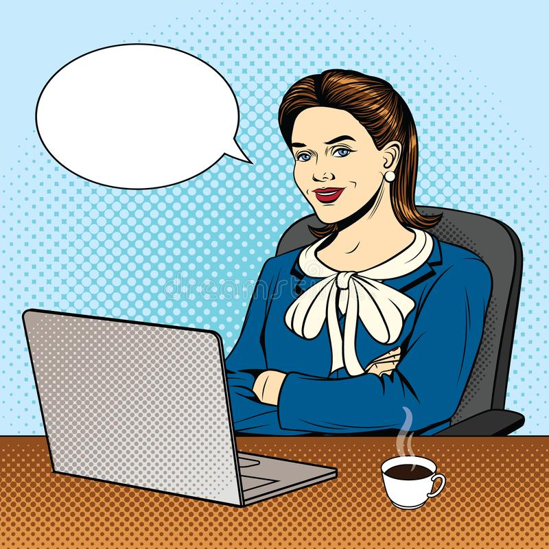 Vector color pop art comic style illustration of a business woman sitting at the computer. Beautiful young woman sits in a chair in the office. Successful royalty free illustration