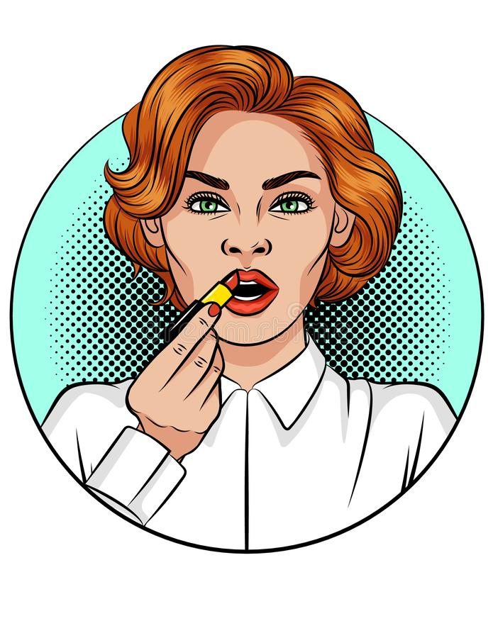 Vector color pop art comic style illustration of girl applying a lipstick. Young attractive woman does makeup. Beautiful girl with red hair uses red lipstick stock illustration