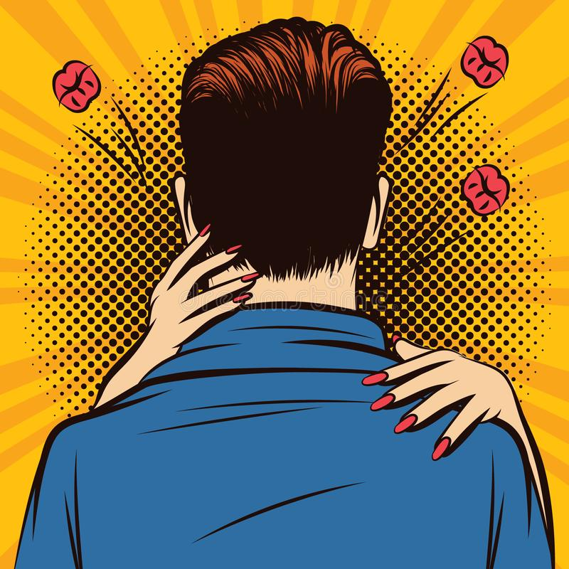 Vector color pop art comic style illustration of a woman hugging a man. Romantic date with hugs and kisses. Love hugs. Valentines day card design. Male back vector illustration