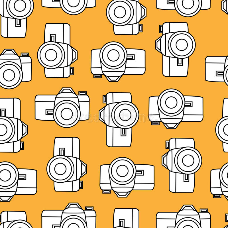 Vector color retro seamless photo camera with shutter royalty free illustration