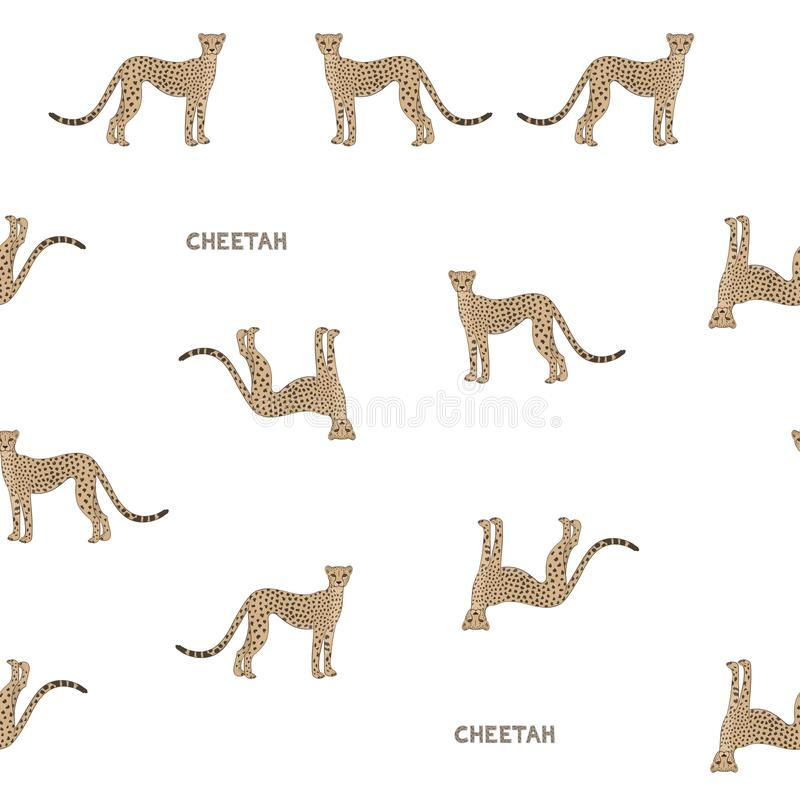 Vector color seamless pattern with cartoon cheetahs. royalty free illustration