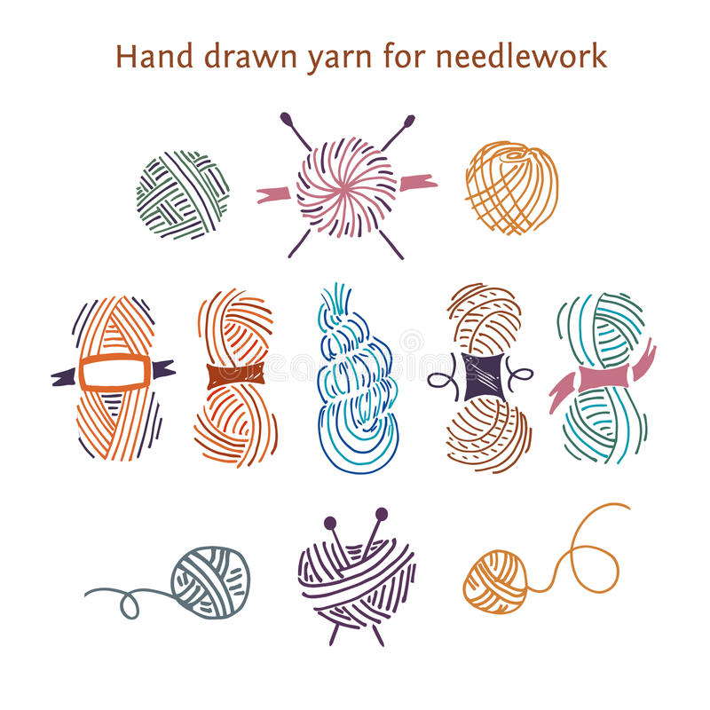 Vector color set skeins of different forms. Outline style. Hand-drawn collection of yarns for needlework and knitting stock illustration