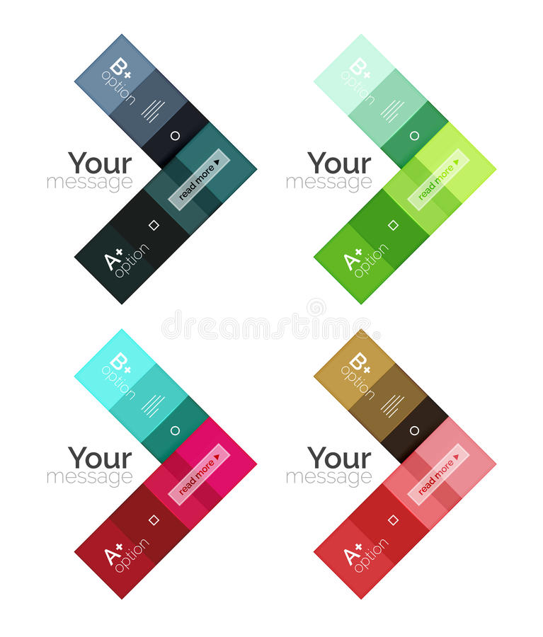 Vector color stripes infographics templates. With sample option text, isolated on white. Geometric business abstract line background for workflow layout stock illustration