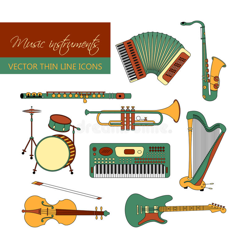 Vector color thin line icons with different music instruments vector illustration