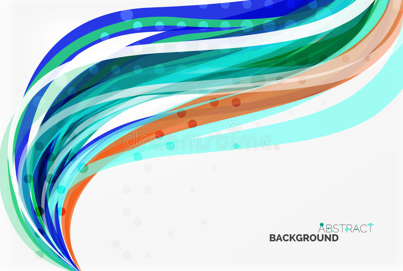 Vector color wave lines with dotted effect on light background vector illustration