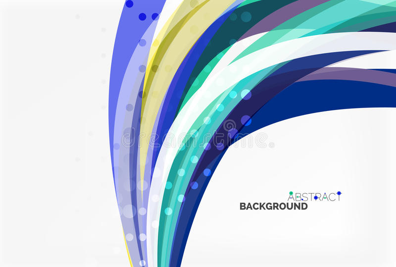 Vector color wave lines with dotted effect on light background royalty free illustration