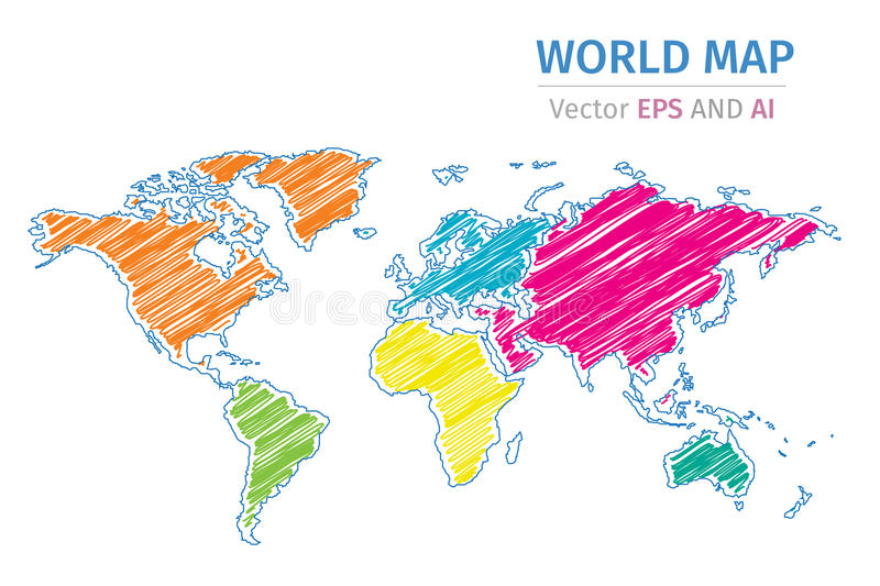 Vector color world map on white background